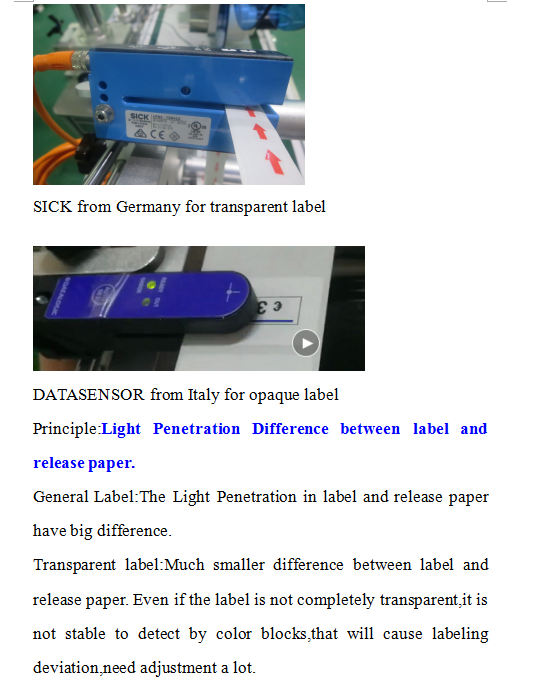 transparent label sensor
